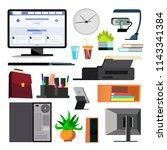 office equipment set vector.... | Shutterstock .eps vector #1143341384