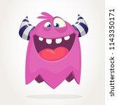 happy cool cartoonflying... | Shutterstock .eps vector #1143350171
