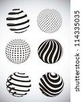 black abstract sphere over gray ... | Shutterstock .eps vector #114335035