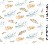 tribal feather seamless pattern ... | Shutterstock .eps vector #1143358307