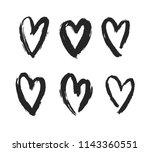 set os vector black hearts... | Shutterstock .eps vector #1143360551