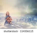 Young Blonde Girl with her Dog on Top of City - stock photo
