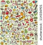 big doodle icons set  ... | Shutterstock .eps vector #114336901