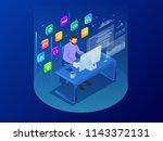 isometric programmer coding new ... | Shutterstock . vector #1143372131