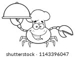 black and white crab chef... | Shutterstock . vector #1143396047