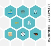 set of pirate icons flat style... | Shutterstock .eps vector #1143396674