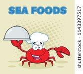 crab chef cartoon mascot... | Shutterstock . vector #1143397517