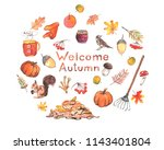 watercolor illustration of ... | Shutterstock . vector #1143401804
