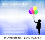 little girl holding ballons... | Shutterstock .eps vector #1143402764