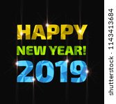 happy new year 2019 low poly... | Shutterstock .eps vector #1143413684