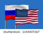 two flags of the usa and russia ... | Shutterstock . vector #1143437267