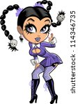 pretty teen halloween goth girl ... | Shutterstock . vector #114346735