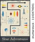 star adventures. 1950s space... | Shutterstock .eps vector #1143474041