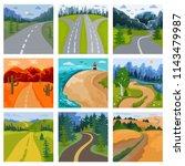 road landscape vector roadway... | Shutterstock .eps vector #1143479987