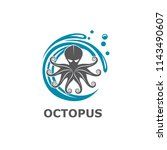 icon of octopus with water... | Shutterstock .eps vector #1143490607