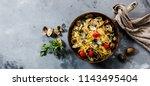 pasta spaghetti alle vongole... | Shutterstock . vector #1143495404