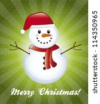 snowman over green background, christmas card. vector