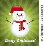 snowman over green background, christmas card. vector