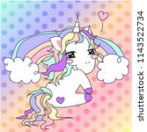 sexy unicorn with rainbow and... | Shutterstock .eps vector #1143522734