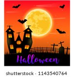 halloween pumpkins and dark... | Shutterstock .eps vector #1143540764