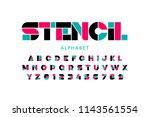 modern stencil font  alphabet... | Shutterstock .eps vector #1143561554