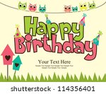 happy birthday card design.... | Shutterstock .eps vector #114356401