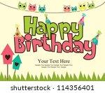 happy birthday card design.... | Shutterstock .eps vector #114356401