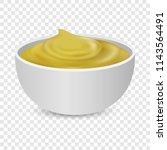 mustard seeds sauce bottle... | Shutterstock .eps vector #1143564491