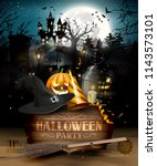 scary graveyard and house in... | Shutterstock .eps vector #1143573101