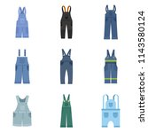overalls workwear icons set.... | Shutterstock .eps vector #1143580124