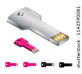 glassy metallic key shaped usb... | Shutterstock .eps vector #1143590081