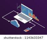 forex stock chart. isometry... | Shutterstock .eps vector #1143633347