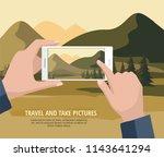 mobile photography concept. man ... | Shutterstock .eps vector #1143641294