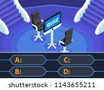 flat 3d isometric quiz concept. ... | Shutterstock .eps vector #1143655211