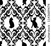 seamless  with black cats and... | Shutterstock .eps vector #1143689474