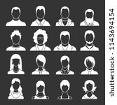 avatars set white isolated on... | Shutterstock . vector #1143694154