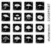 umbrella icons set grunge...   Shutterstock . vector #1143694187