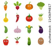 smiling vegetables icons set.... | Shutterstock . vector #1143694817