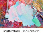 colorful palette oil painting... | Shutterstock . vector #1143705644