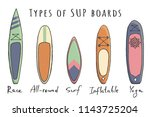 stand up paddle boarding...   Shutterstock .eps vector #1143725204