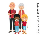 cute grandparents couple with... | Shutterstock .eps vector #1143732974