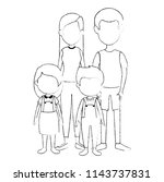 parents couple with kids... | Shutterstock .eps vector #1143737831