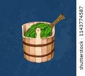 bathing goods. a wooden barrel...   Shutterstock .eps vector #1143774587
