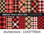 lumberjack tartan and buffalo... | Shutterstock .eps vector #1143775814