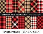 lumberjack tartan and buffalo... | Shutterstock .eps vector #1143775814