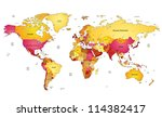 multicolored world map. vector... | Shutterstock .eps vector #114382417