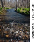 Otter Creek flows full with spring runoff through the forest at Baxter
