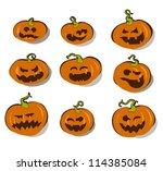 set of halloween pumpkins | Shutterstock .eps vector #114385084