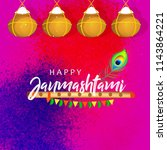 happy janmashtami design...   Shutterstock .eps vector #1143864221