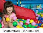 happy laughing girl kid having... | Shutterstock . vector #1143868421